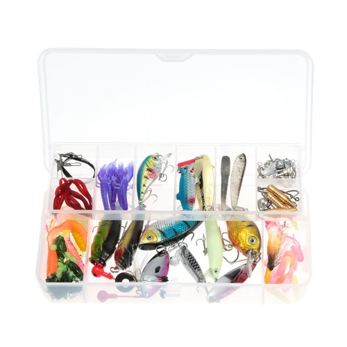 100pcs Artificial Fishing Lure Set Hard Soft Baits Minnow VIB Spinner Spoon Popper Pencil Crank Jig Head Hooks with Two-layer Fishing Tackle Box Y2411