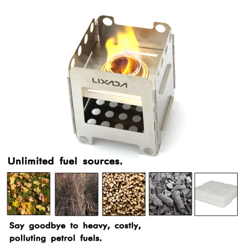 LIXADA Portable Stainless Steel Lightweight Folding Wood Stove Outdoor Camping Cooking Picnic Backpacking Stove
