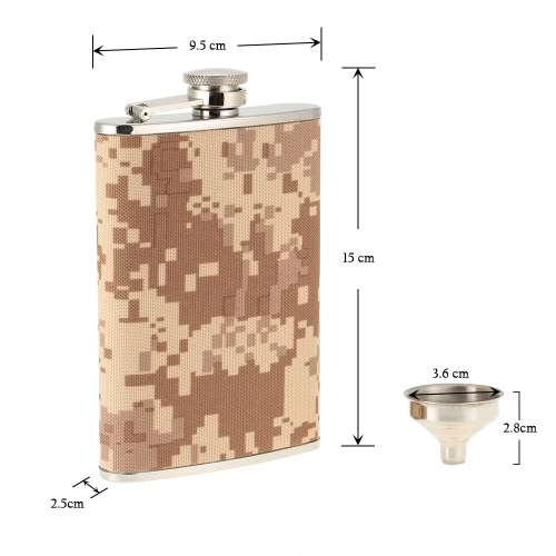 Image of Outdoor Camping Stainless Steel Hip Flask with Small Funnel Alcohol Liquor Wine Flagon Men's Gift