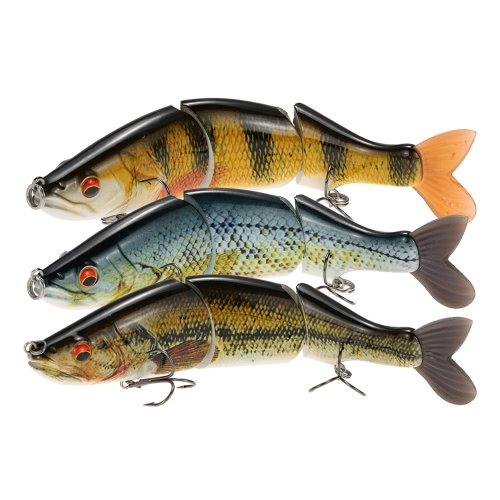 "LIXADA 6.7"" Lifelike 3-segment Multi-jointed Swimbait Fishing Lures Crankbait Hard Bait Treble Hook Fishing Tackle Minnow Bass Pike Muskie"