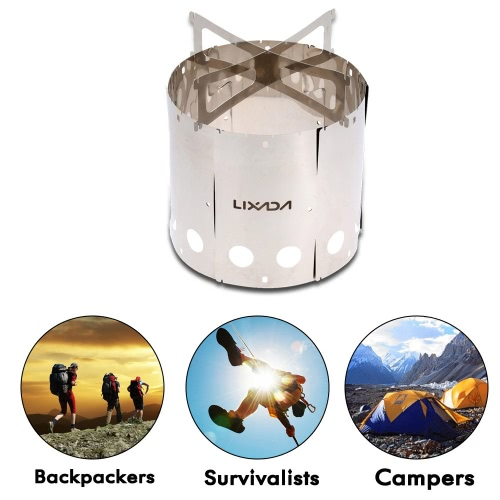 Lixada Portable Stainless Steel Lightweight Wood Stove for Outdoor Picnic