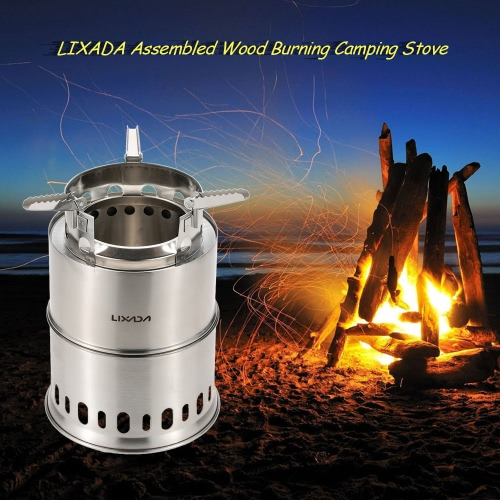 LIXADA Potable Stainless Steel Wood Burning Camping