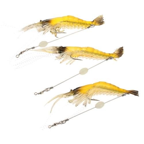 Luminous Soft Shrimp Prawn Worm Bait Lure Saltwater Fishing Lure Hook Bait
