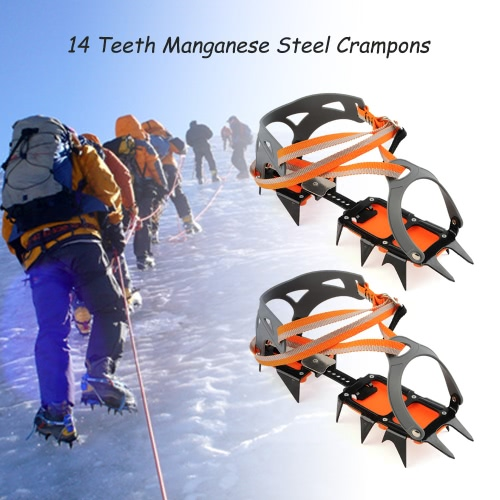 14-point Manganese Steel Climbing Gear Crampons Ice Grippers Crampon Traction Device Mountaineering Glacier Travel Ice WalkingCrampons<br>14-point Manganese Steel Climbing Gear Crampons Ice Grippers Crampon Traction Device Mountaineering Glacier Travel Ice Walking<br><br>Blade Length: 27.0cm