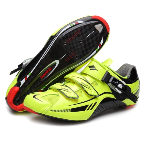 Santic Men's Professional Cycling Shoes Ultra-light Carbon Fiber Sole Road Bike Racing Shoes Sport Bicycle Self-locking Shoes