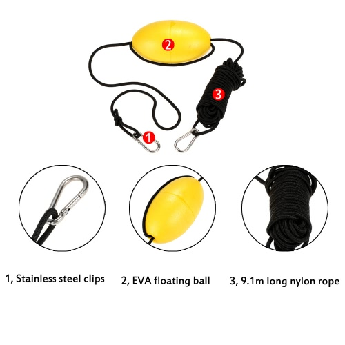 Buy 1pc Kayak Drift Anchor Tow Rope Line 9.1m / 30ft Long Nylon Stainless Steel Clips Accessory