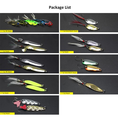 20Pcs Multiple Fishing Metal Sequins Lures Fishing VIB Baits Wire Baits Hooks Fishing Lures with Box