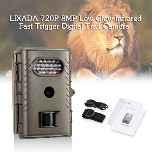 LIXADA 720P 8MP Low Glow Infrared Fast Trigger Digital Trail Camera Outdoor Hunting Game Camera 850nm IR LED Night Vision Video Recorder