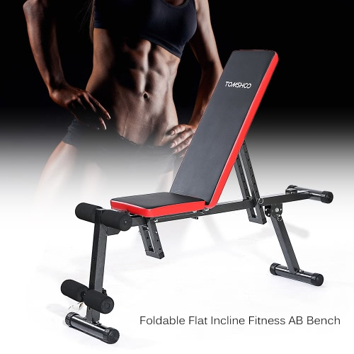 Buy TOMSHOO Adjustable Folding AB Bench Flat Incline Fitness Exercise Sit Board Home Gym Workout Weight Dumbbell Training