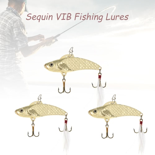 Lixada 3pcs/lot 8g/12g/18g Sequin VIB Fishing Lures Hard Fishing Bait Sequins with Treble Hooks