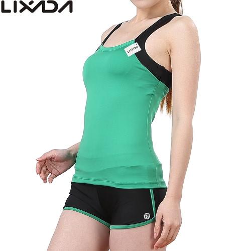 Lixada women sleeveless breathable yoga set sports singlet top bra shorts for...