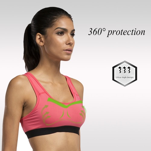 Women's Sports Bra Full Coverage Racerback Removable Padded Wire Free Quickdry Running Yoga Underwear Y2664WR-XL
