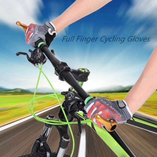 Full Finger Sports Gloves Racing Riding Road Bike Motor Cycling Bicycle Gloves Y2841R-L