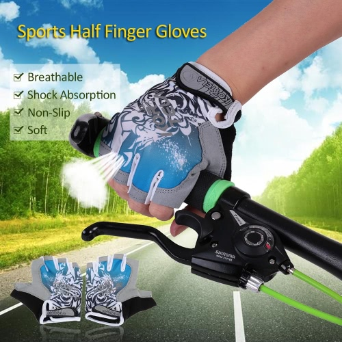 Sports Half Finger Gloves Racing Riding Road Bike Motor Cycling Bicycle Gloves Y2842BL-L
