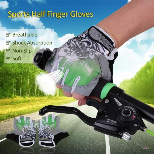 Sports Half Finger Gloves Racing Riding Road Bike Motor Cycling Bicycle Gloves Y2842GR-XL