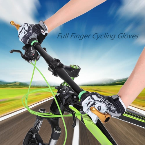 Full Finger Sports Gloves Racing Riding Road Bike Motor Cycling Bicycle Gloves Y2841GY-M