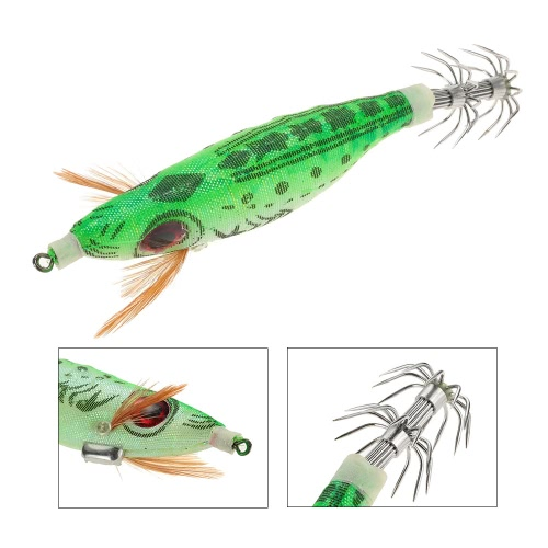 9g/10cm Outdoor Hard Fishing Bait Cloth Wrapped PVC Shrimp Prawn Fishing Baits Noctilucent Squid Fshing Lure Jig Hooks Corlorful