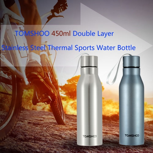 TOMSHOO 450ml Outdoor Sports Double Layer Stainless Steel Insulated Vacuum Cup Thermal Water Bottle Cup Container Hiking Camping