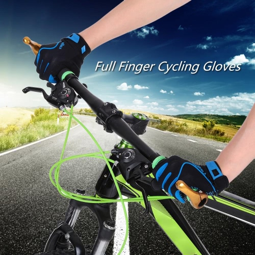 Full Finger Sports Gloves Climbing Racing Riding Road Bike Motor Cycling Bicycle Gloves Y2843BL-S