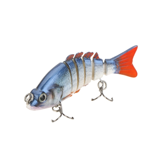 "85mm 11g 3.3"" 6-segement Multi Jointed Fishing Life-like Hard Lure Minnow Swimbait Bait 2 Treble VMC Hooks"