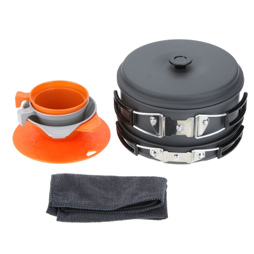 ALOCS 3-4 People Portable Camping Pots+Pan+Bowls+Cups+Cutting Board Picnic Outdoor Cooking Cookware Set Aluminum Y0524