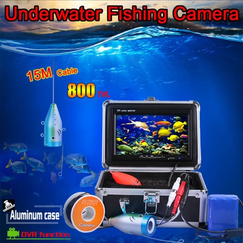 """7"""""""" TFT LCD Monitor 800TVL Portable Night Vision Fish Finder DVR Video Underwater Fishing Camera 15M Cable"""" Y0591"""