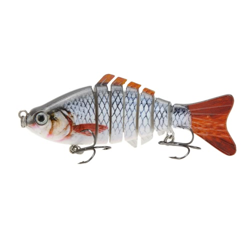 "LIXADA 10cm/4"""" 15.5g Bionic Multi Jointed Fishing Lure SUN-FISH Lifelike Hard Bait Bass Yellow Perch Walleye Pike Muskie Roach Trout Swimbait"" Y0680-1"