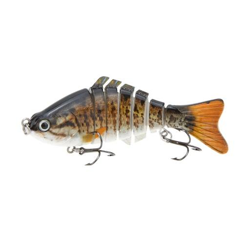 "LIXADA 10cm/4"""" 15.5g Bionic Multi Jointed Fishing Lure SUN-FISH Lifelike Hard Bait Bass Yellow Perch Walleye Pike Muskie Roach Trout Swimbait"" Y0680-5"