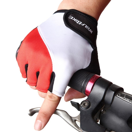 WOLFBIKE Non-slip Shock-absorbing Silicone GEL Road MTB Motorcycle Cycling Bike Bicycle Racing Riding Breathable Half Finger Gloves Y0698R-XL