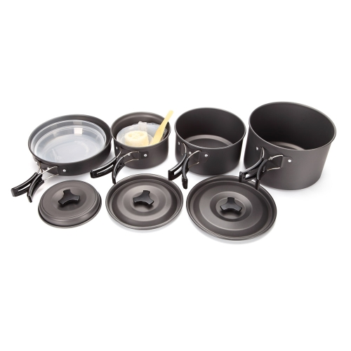 4-5 People Aluminum Portable Outdoor Camping Hiking Picnic Cookware Non-stick Pans Bowls Plates Cooking Set Y0709