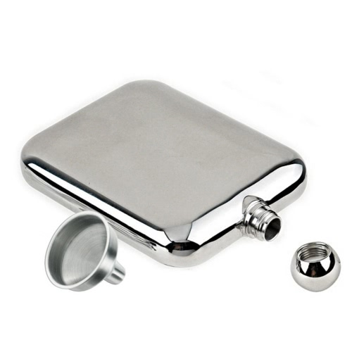 6oz/170ml Outdoor Portable Stainless Steel Mirror Polished Hip Flask Wine Pot Alcohol Flagon with Funnel
