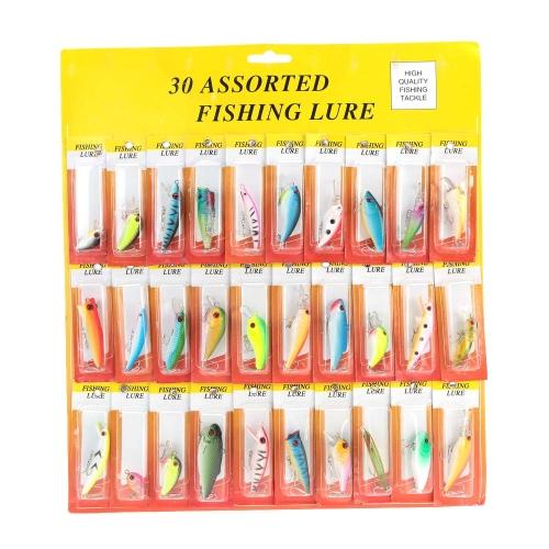 30Pcs Assorted Mixed Color Fishing Lures Minnow Popper VIB Crank Hook Hard Bait Tackle