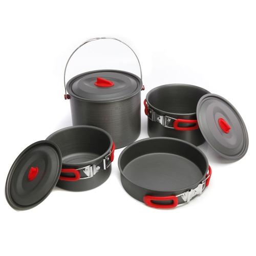 ALOCS 7Pcs Outdoor Portable Camping Hiking Picnic Cookware Pot Pan Cooking Set