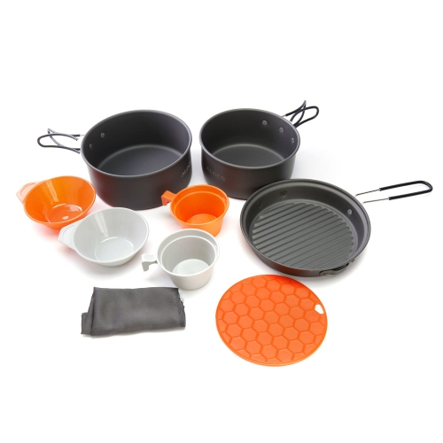 ALOCS 9Pcs Outdoor Portable Camping Hiking Picnic Cookware Pot Pan Bowl Cup Cooking Set Y0944