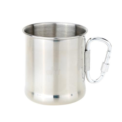 250ml Stainless Steel Mug with Foldable Self-lock Carabiner Handle Folding Handle Cup Y1222