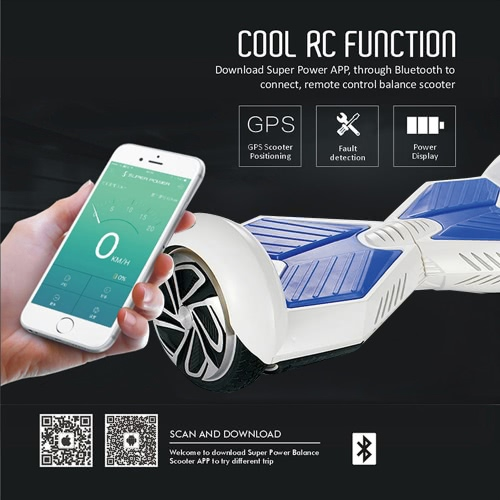 Buy APP Control 6.5 inch Bluetooth Speaker Smart Sensors Electric Self Balancing Hoverboard Driftboard Segway Board Cyboards Skywalkers Intelligent Two-wheel Scooter