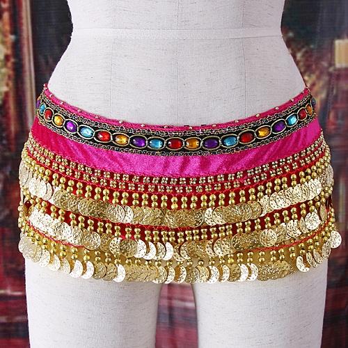 Belly dance waist link diamond rose-pink