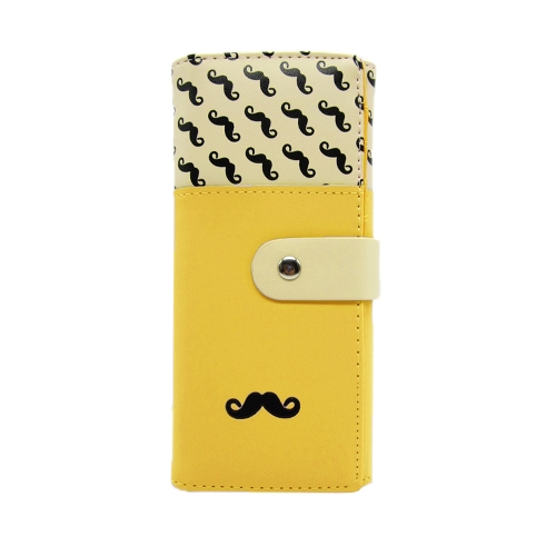 New Fashion Women Long Purse Moustache Beard Zipper PU Leather Wallet Phone Card Holder