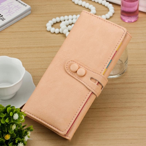New Fashion Women Long Purse PU Leather Press Stud Closure Candy Color Wallet Card Holder