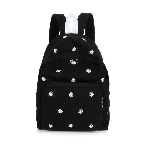 Fashion Women Girls Backpack Floral Embroidery Sweet Candy Colors Student School Bag Rucksack