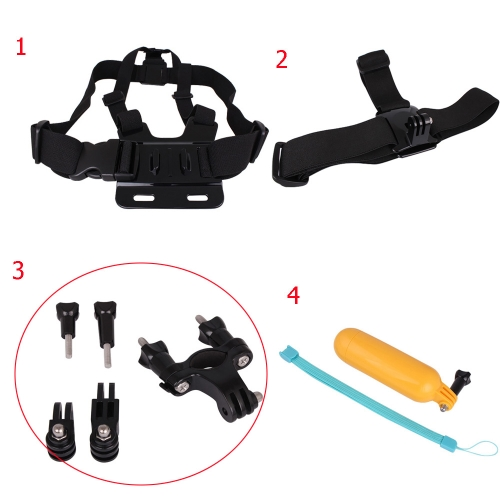 Andoer 4 in 1 Accessories Set Kit Chest / Head Strap Mount Bicycle Handlebar Floating Hand Grip Kit  for Gopro Hero 1 2 3 3+ 4