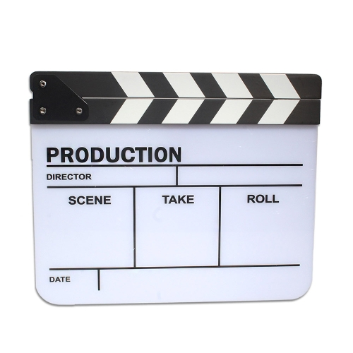 Acrylic Plastic Clapperboard TV Movie Film Cut/Action Clapper Board Slate D1832B
