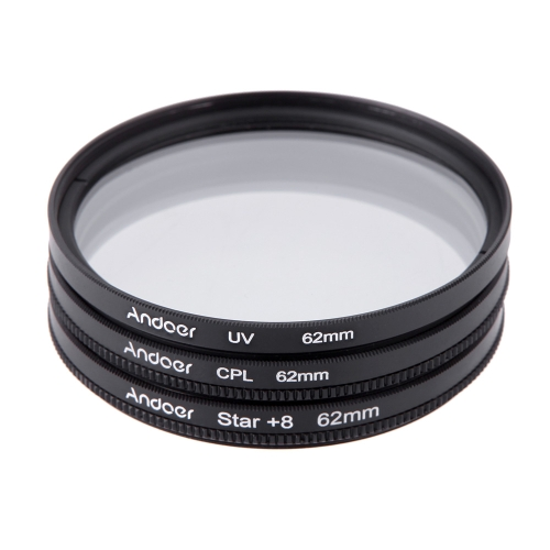 Andoer 62mm Filter Set UV + CPL + Star 8-Point Filter Kit with Case for Canon Nikon Sony DSLR Camera LensFilters kit<br>Andoer 62mm Filter Set UV + CPL + Star 8-Point Filter Kit with Case for Canon Nikon Sony DSLR Camera Lens<br><br>Blade Length: 10.0cm