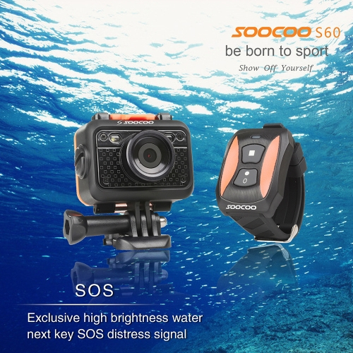 SOOCOO S60 UnderWater 60M SOS Flash 170 Angle HD 1080P WIFI Sport Video Camera with Remote Controller D2134