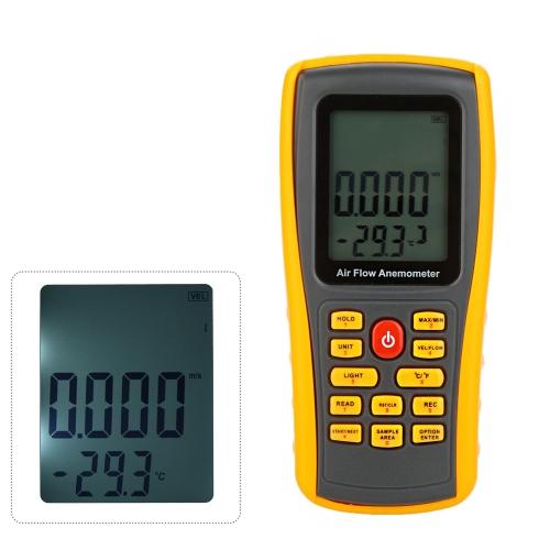 KKmoon GM8902 Anémomètre numérique vent vitesse/Air Flow/Air température mètre testeur mesure 0 ~ 45m/s avec Interface USB & enregistrement de données