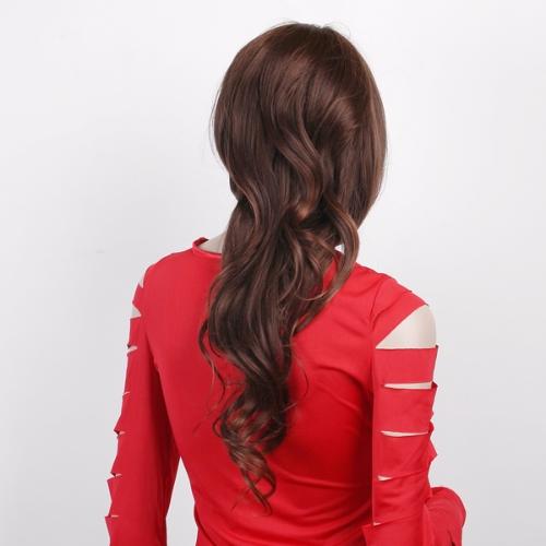 Fashion Women's Long Full Curly Wavy Dark Brown Hair Wig W027
