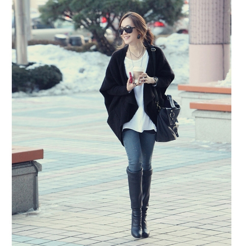 Women's Tops Batwing Sleeves Knitted Sweater Cape Ladies Coat Cardigan Black G0048B
