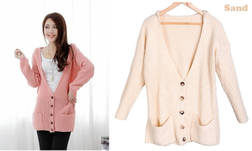 Women's Autumn Hoodie Knitted Sweater Oversized Cardigan Coat Blouse