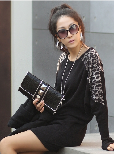 Women Ladies Leopard Print Long Casual Loose Top Tunic Splicing T-shirtTops &amp; Vests<br>Women Ladies Leopard Print Long Casual Loose Top Tunic Splicing T-shirt<br><br>Blade Length: 32.0cm