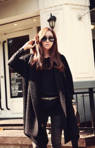 Korean Fashion Women Cardigan Batwing Sleeve Long Loose Knitwear Coat Sweater Black